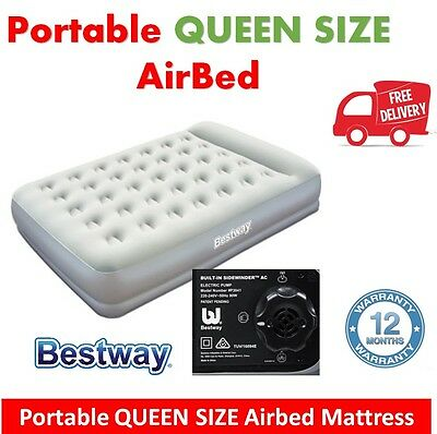 Queen Air Bed Inflatable Portable Built-in Pump Blow Up Mattress Camping Guest