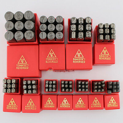 Reversed 9PC Steel Number Stamps Punch Dies Set Select Size