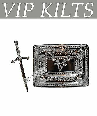 Scottish Stag Head Buckle And Sword Kilt Pin Set Chrome Finish For Boys And Men