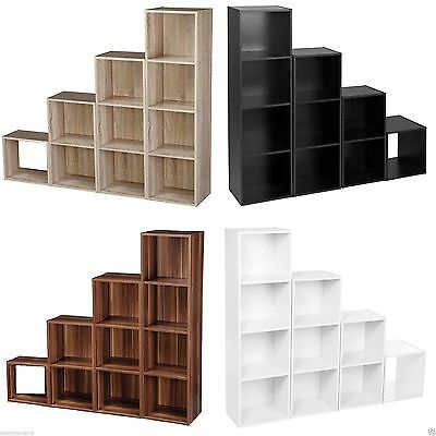 Wooden Cube Storage Unit 2-3-4 Tier Sturdy Bookcase Shelving Home Office Display