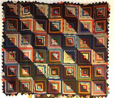 Antique 1800s Wool Log Cabin Quilt Top on Backing Excellent 62 x 73