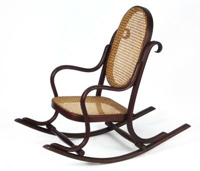 Art Deco Bentwood Small Rocking Chair with Cane Seat - Free Shipping [PL1055]