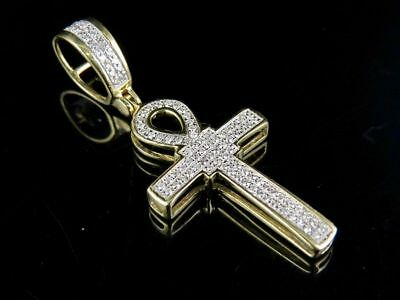 10K Yellow Gold Genuine Diamond Egyptian Ankh Cross Pendant Charm 1/5 Ct 1.5""