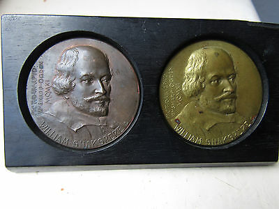 Pair of Scarce ANTIQUE 1911 WILLIAM SHAKESPEAR Medals, specially mounted VGC