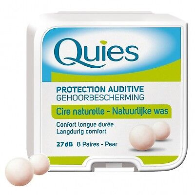 QUIES Protection Auditive en Cire x8 27 dB - 8 paires - cire naturelle