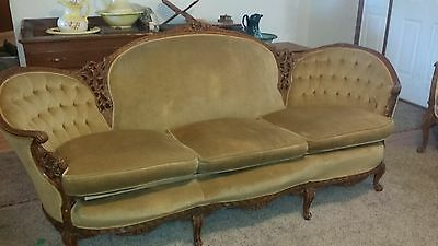 Antique Victorian Carved Sofa and 2 Chairs Set