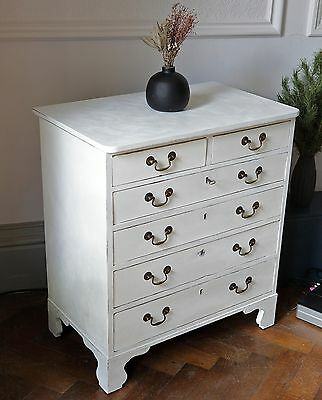 Lovely Small Up Cycled Antique Chest of Drawers with Key. White. Georgian Style