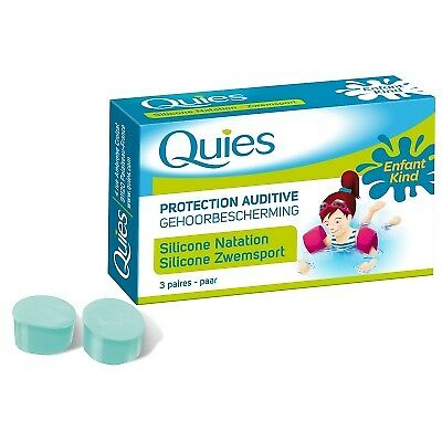 QUIES Protection Auditive Silicone Natation Enfant 3 paires spécial baignade