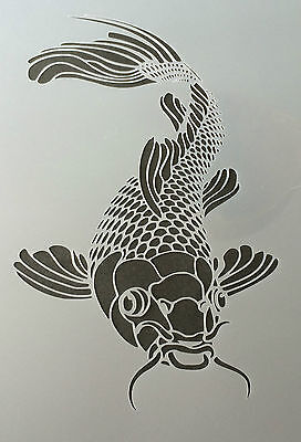 The Koi Fish Mylar Reusable Stencil Airbrush Painting Art Craft DIY Home Decor