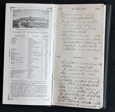 Handwritten Diary kept by a Woman living in Hartwick, Otsego Co., New York 1893