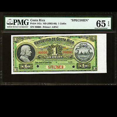 Republica de Costa Rica 1 Colon 1905 - 1906 Specimen P-142s PMG 65 GEM UNC EPQ