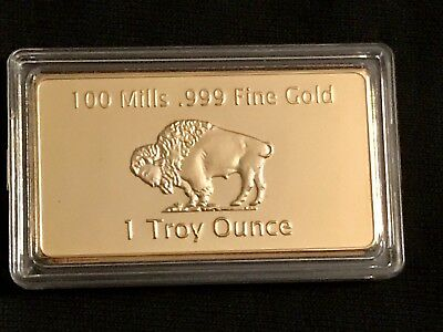 Fake gold Buffalo Bar, Novelty Paper weight, Gold Plated Novelty