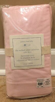 NEW Pottery Barn Kids Baby Washed Velvet Crib Skirt PINK