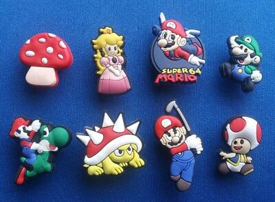 8 Pc Super Mario Brothers Jibbitz Shoe Charms Cake Toppers Party Favors Bands