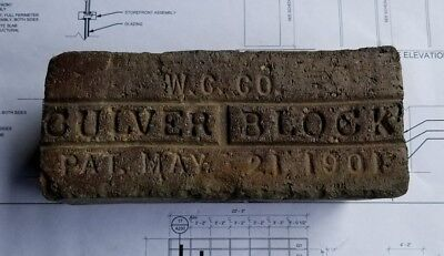 Reclaimed Antique Brick Paver Culver Block, Pat May 21 1901 W.G. Co., Indy 500