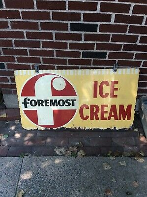 """Foremost Ice Cream Sign Double Sided Original 42"""" X 23"""""""