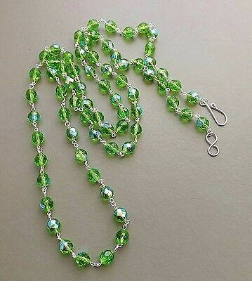 Long Green glass Czech bead necklace .. crystal AB aurora handmade glam jewelry