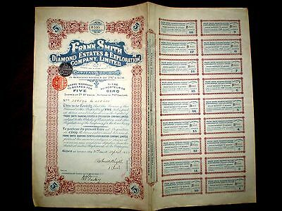 Frank Smith Diamond Estates, share certificate  1923 South Africa