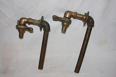 Antique PAIR Solid Brass Faucets Spigots Industrial Utility Farm SAVILL 1911