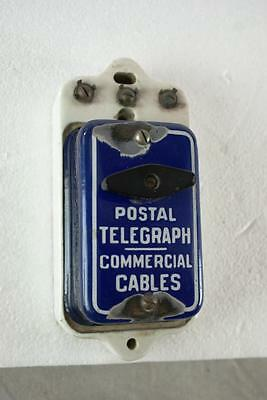 Western Union Call Box Blue Porcelain Working Telephone Telegraph Antique Vintag