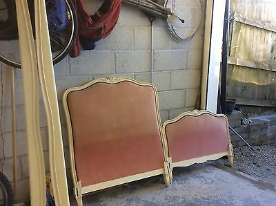 Single Antique Vintage French Capitonne Cream Crackled Bed Frame With Base