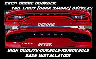 2015 2016 2017 Dodge Charger Full Tail Light Dark Smoke Overlay Tint smoked s