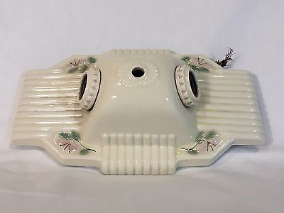 Antique 40's Porcelier Light Ceiling Fixture VTG Floral Art Deco Wall Flush Old