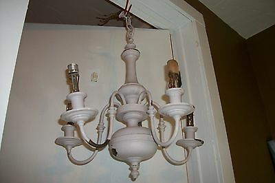 Early 1900's Antique Brass Colonial Chandelier Vtg Williamsburgs Light Fixture