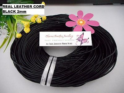 JEWELLERY WHOLESALE BULK FINDING MAKING SUPPLY LEATHER CORD 2mm ROUND BLACK