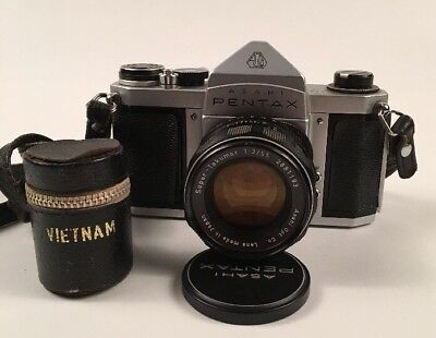 Vtg PENTAX S1a SLR Camera w 55mm f2 VIETNAM WAR SOLDIER Spotmatic K1000 TESTED