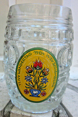 77.IVV Wandertag 1984 WSV Schomberg Glass Dimple German Beer Mug Germany 0,5L