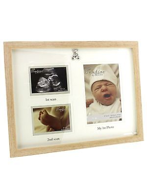 Triple Baby Scan Photo Frame Gift with 3D Teddy Icon