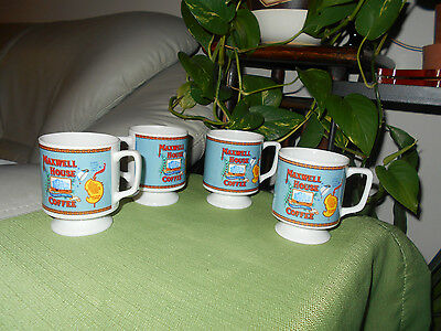 Lot of 4 MAXWELL HOUSE FOOTED SMALL COFFEE MUG CUP GOOD TO THE LAST DROP, 1970s