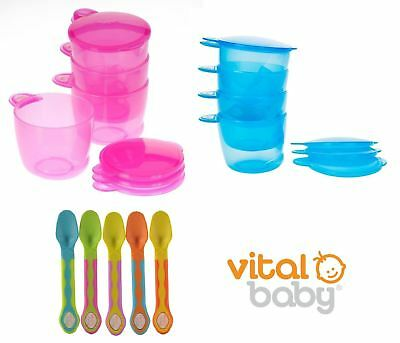 Vital Baby Prep and Go Food Pots (Pink or Blue) and Soft Tip Baby Spoons