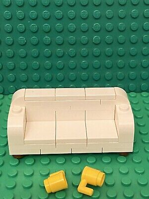Lego MOC Mini Figures White Sofa Couch Love Seat W// Recliner Hinges Furniture