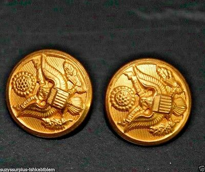 WWII US Army Brass with gold wash Coat lapel buttons 16mm= 7/8in lot of 2 B4302