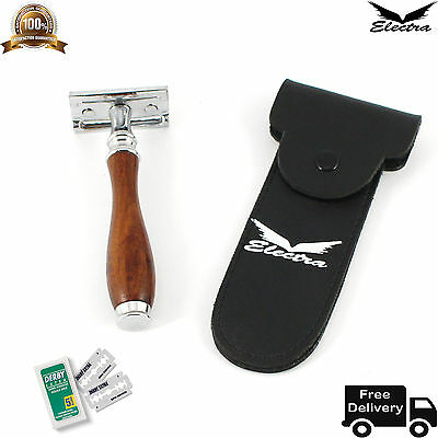 Electra Safety Razor & 10 Double Edge Blades Classic Shaving Vintage Wood Color