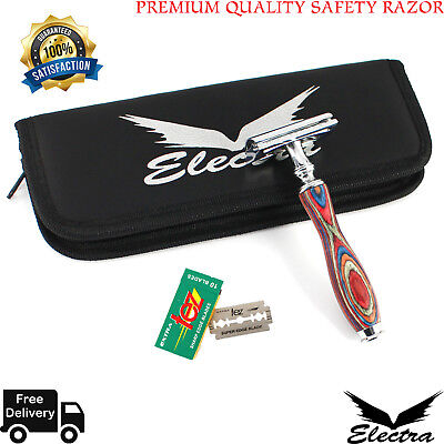 Electra Safety Razor Shaver 10 Double Edged Blades Premium Quality+Gift Case