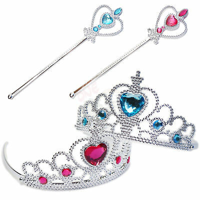 UK STOCK LOVELY Frozen Ice QUEEN PRINCESS Elsa GIRL Party CROWN & MAGIC WAND SET