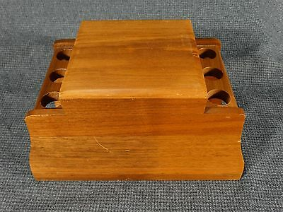VTG 6-Pipe Stand/Holder Walnut - no pipes - Built in Humidor with Lid