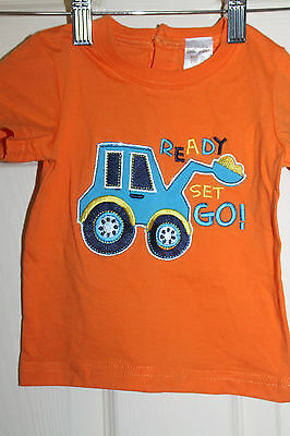 New w/Tags Baby Boys Orange T-shirt with Digger embroidery size 00  NEW