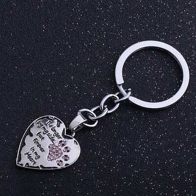 Family Sister Paws Crystal Love Heart Pet Dog Key Ring Charm Keyring Keychain