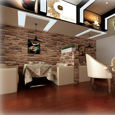 Luxury 3D blocks brick wall effect vinyl 10M wallpaper Roll living room 2 Colors