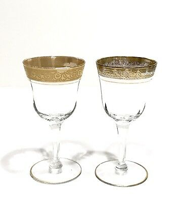 Pair of Antique Cordial Gold Leaf Etched Rim Decorated Glasses
