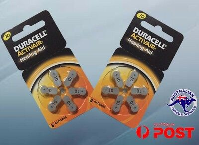 Duracell 10 Activair hearing aid batteries Size 10 P10 10A 2 cards 12 cells New