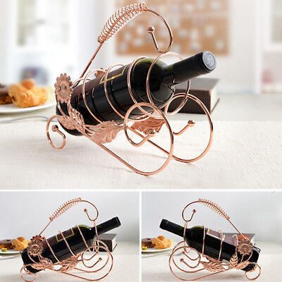 Wire Wine Bottle Holder Rack Bar Desktop Display Stand Bracket Pink Golden