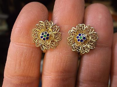 Gorgeous Vtg Antique Guilloche Gold Washed Sterling Silver Filigree Earrings
