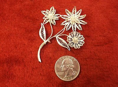 Gorgeous Vtg Antique 800? Sterling Silver Filigree Handcrafted Flower Brooch Pin