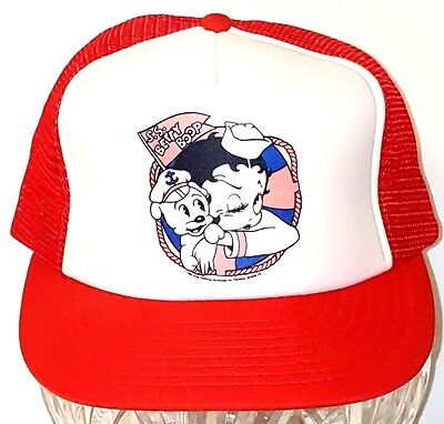 VTG 1985 King Features Betty Boop Pudgy Red Trucker Snapback Hat Cap NEVER WORN