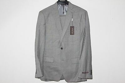 $795 Michael Kors Sharkskin Two-Button Wool Two-Piece Suit Gray Grey 42R 44R 44L
